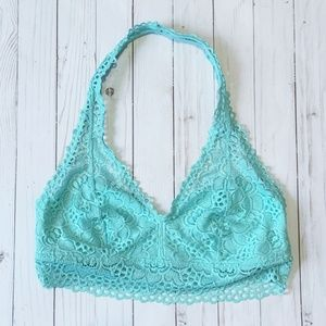 Aerie Lace Halter Bralette - Turquoise